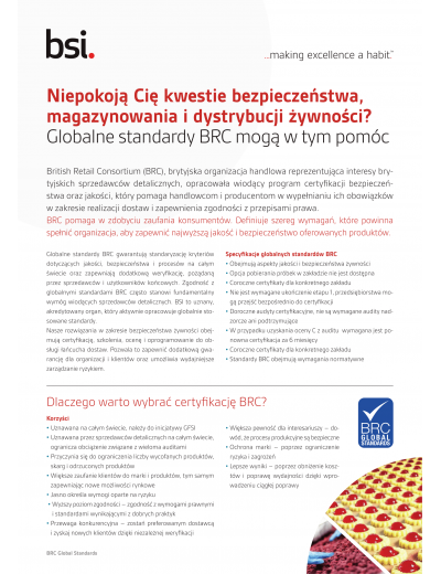 Ulotka BRC Global Standards